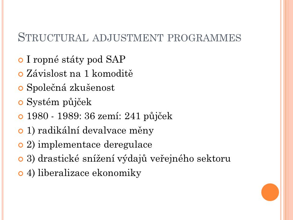 Structural adjustment programmes