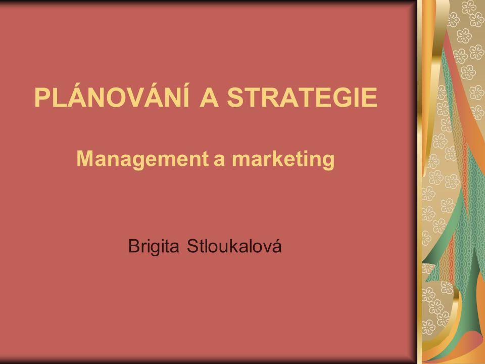 PLÁNOVÁNÍ A STRATEGIE Management a marketing