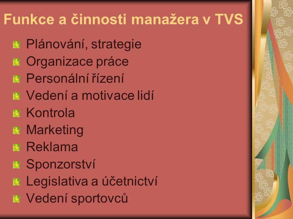 Funkce a činnosti manažera v TVS