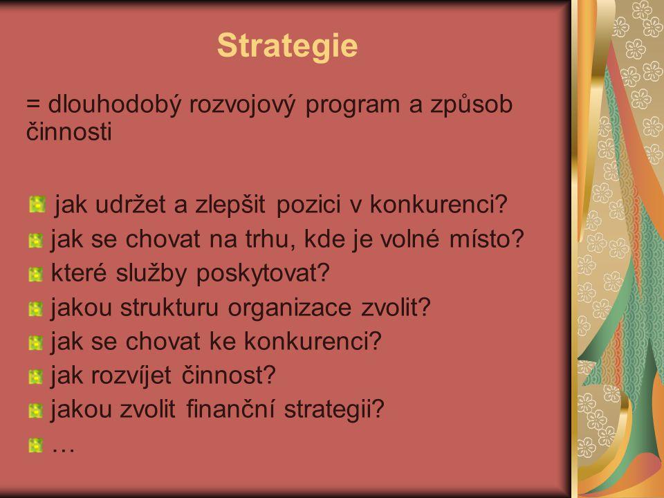 Strategie jak udržet a zlepšit pozici v konkurenci