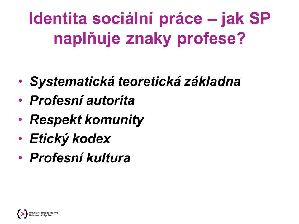 Identita sociální práce – jak SP naplňuje znaky profese