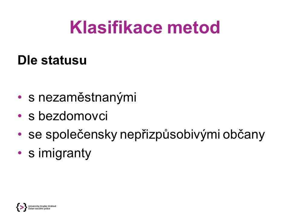 Klasifikace metod Dle statusu s nezaměstnanými s bezdomovci