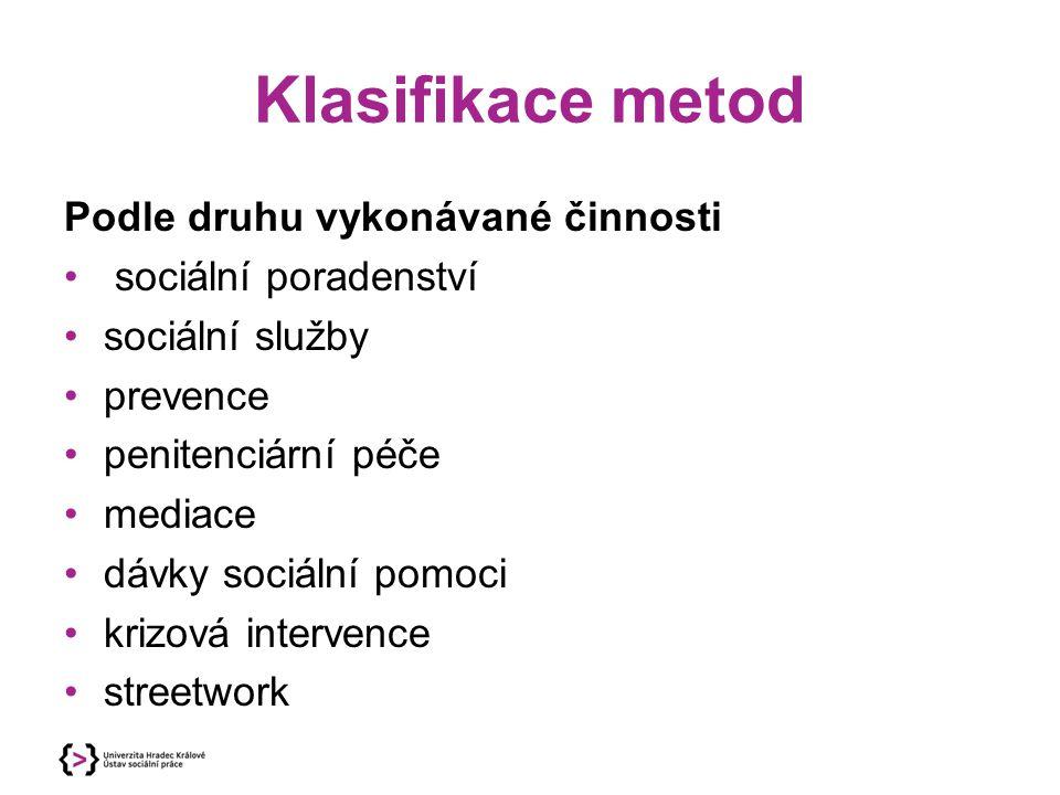 Klasifikace metod Podle druhu vykonávané činnosti sociální poradenství