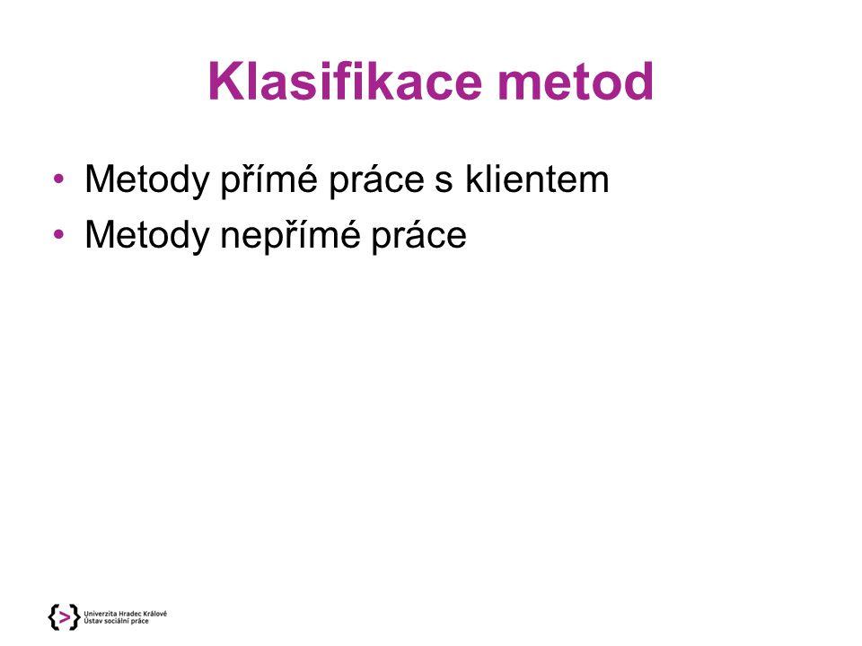 Klasifikace metod Metody přímé práce s klientem Metody nepřímé práce