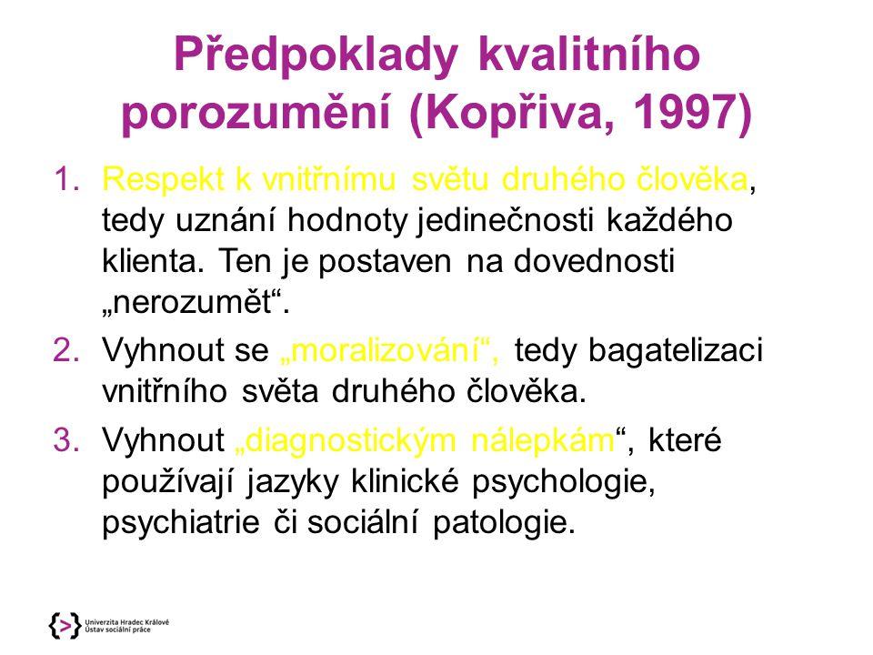 Předpoklady kvalitního porozumění (Kopřiva, 1997)