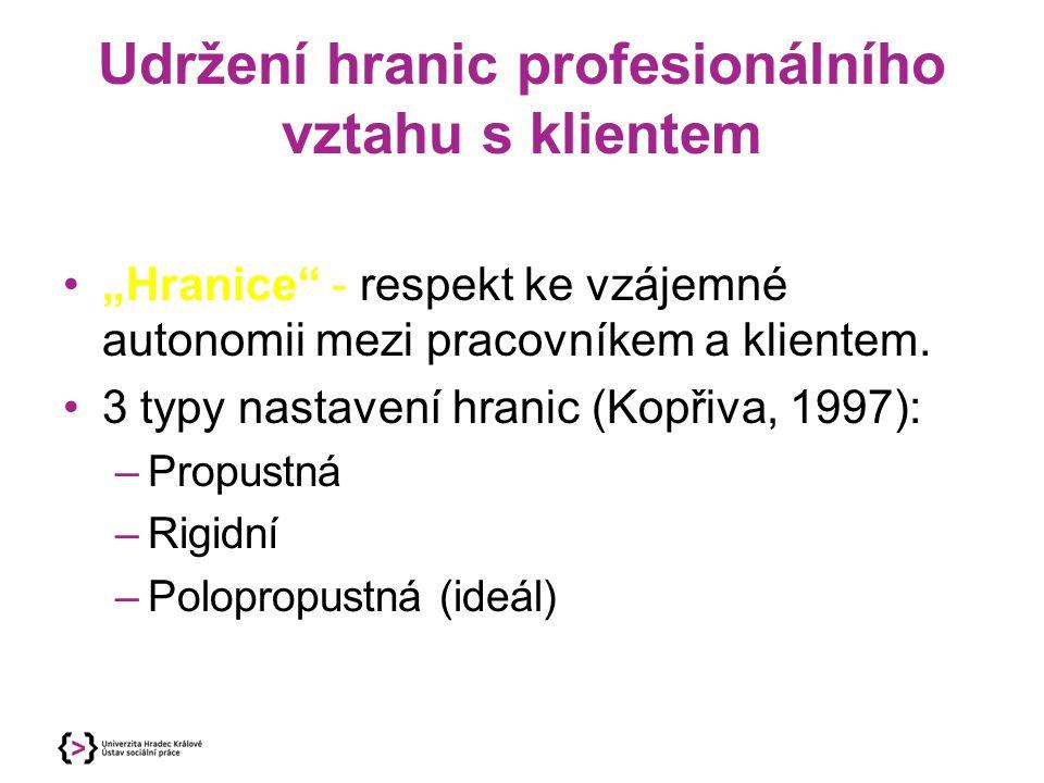 Udržení hranic profesionálního vztahu s klientem