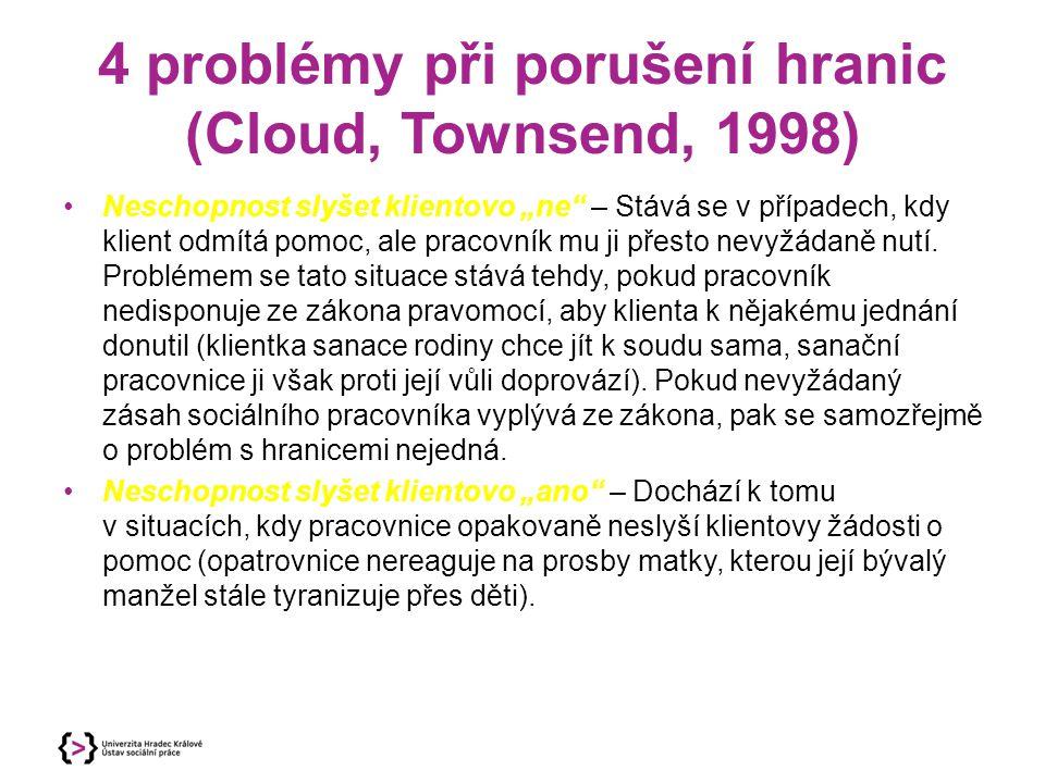 4 problémy při porušení hranic (Cloud, Townsend, 1998)