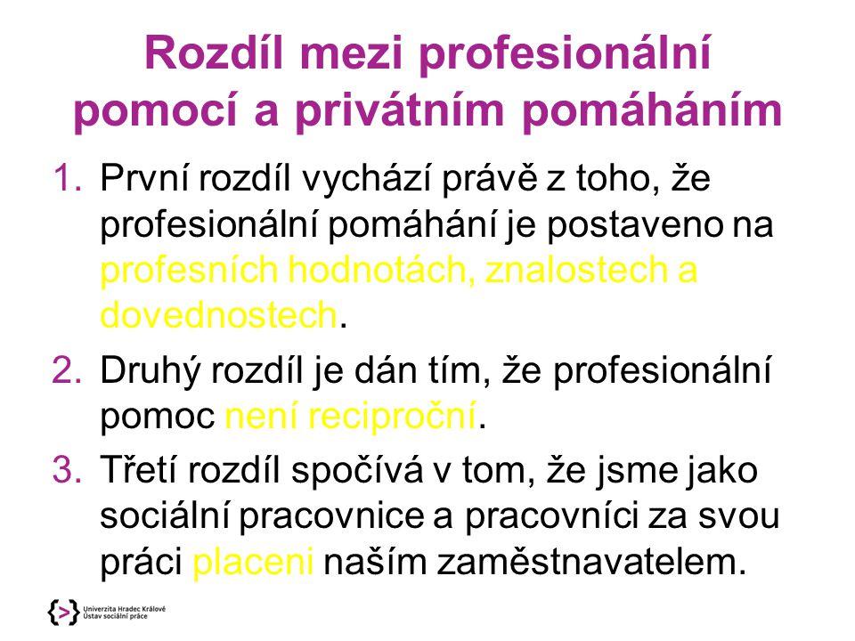 Rozdíl mezi profesionální pomocí a privátním pomáháním