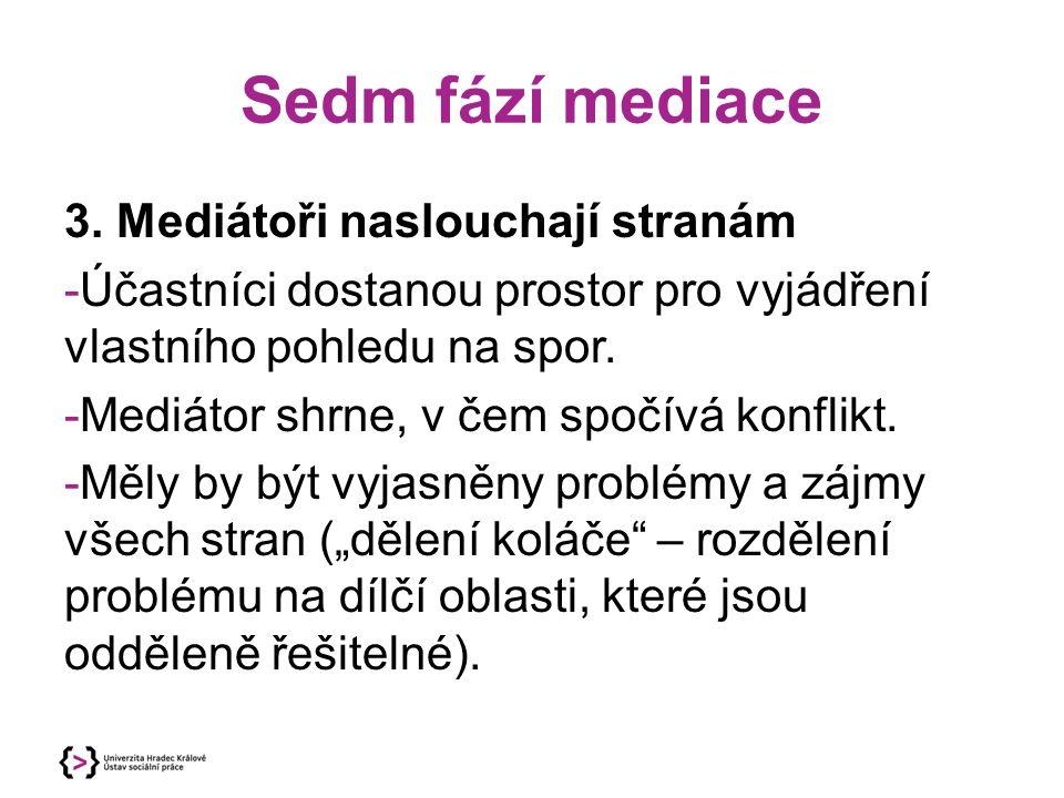 Sedm fází mediace 3. Mediátoři naslouchají stranám