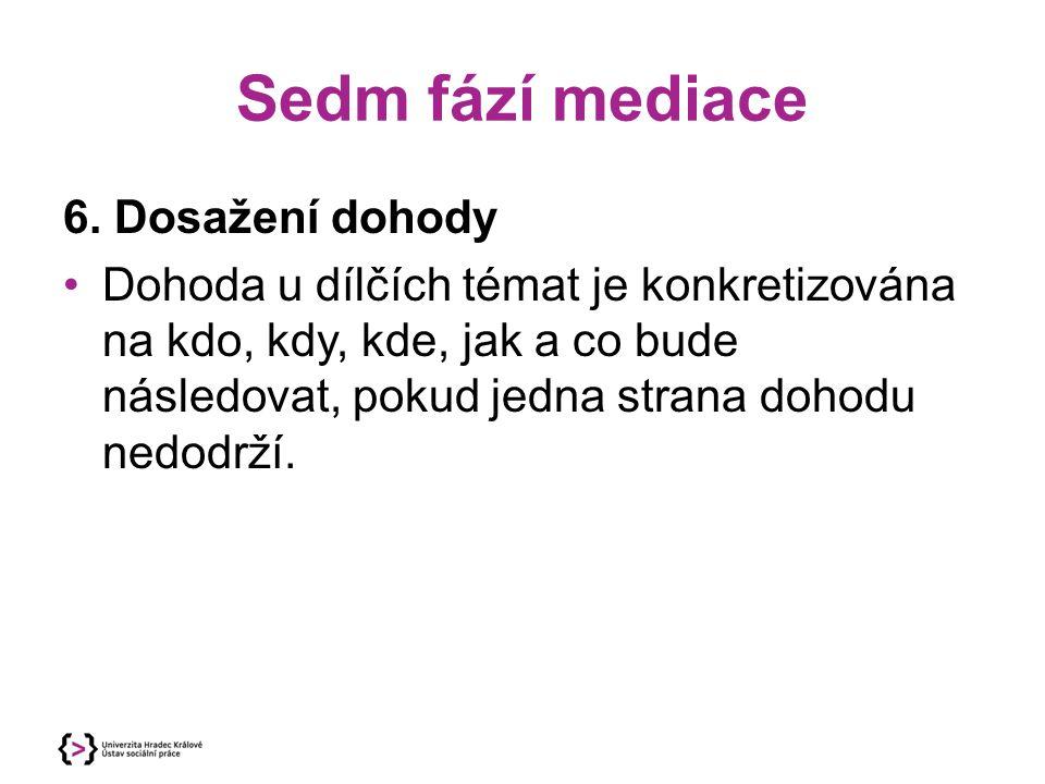 Sedm fází mediace 6. Dosažení dohody