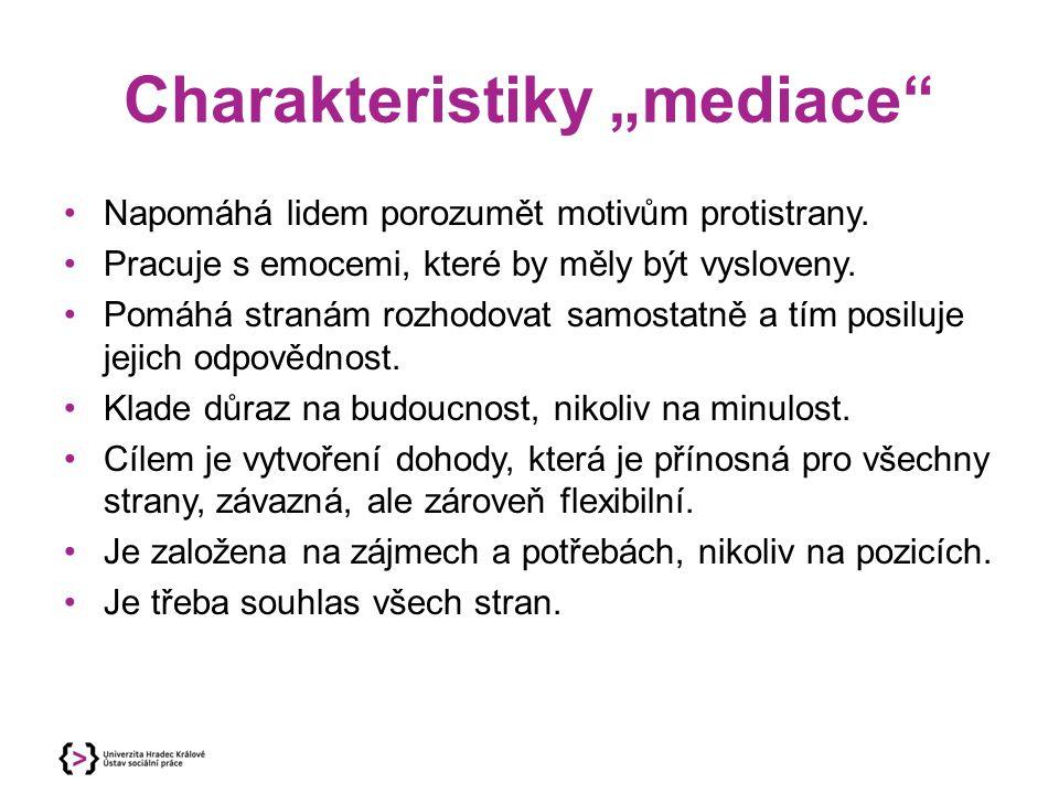 """Charakteristiky """"mediace"""