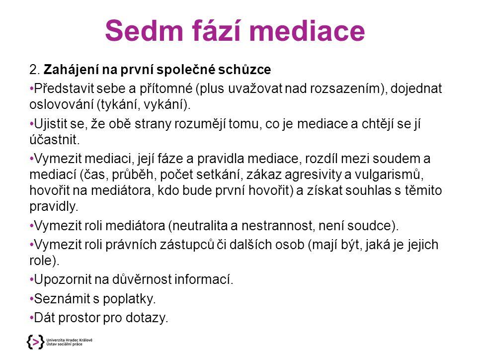 Sedm fází mediace 2. Zahájení na první společné schůzce