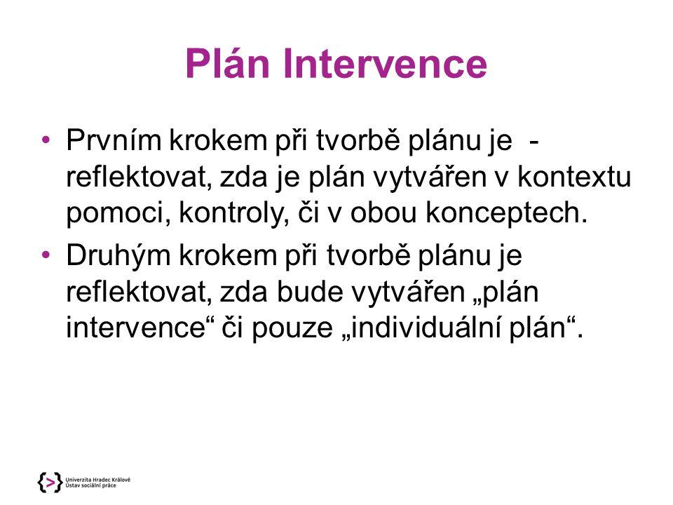 Plán Intervence Prvním krokem při tvorbě plánu je - reflektovat, zda je plán vytvářen v kontextu pomoci, kontroly, či v obou konceptech.