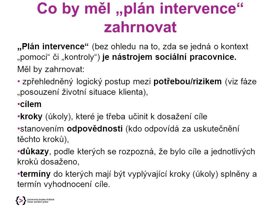 """Co by měl """"plán intervence zahrnovat"""