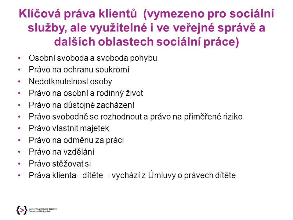 Klíčová práva klientů (vymezeno pro sociální služby, ale využitelné i ve veřejné správě a dalších oblastech sociální práce)