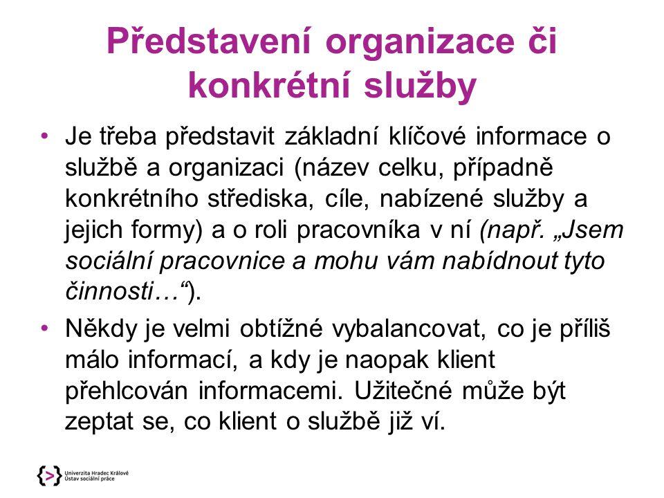 Představení organizace či konkrétní služby