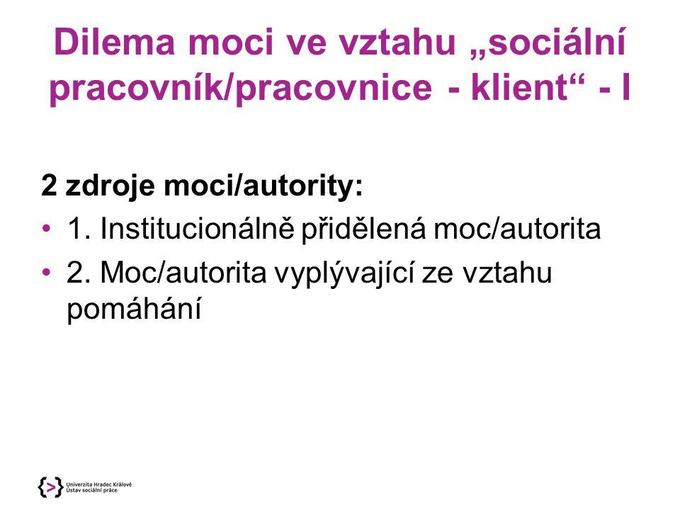"""Dilema moci ve vztahu """"sociální pracovník/pracovnice - klient - I"""