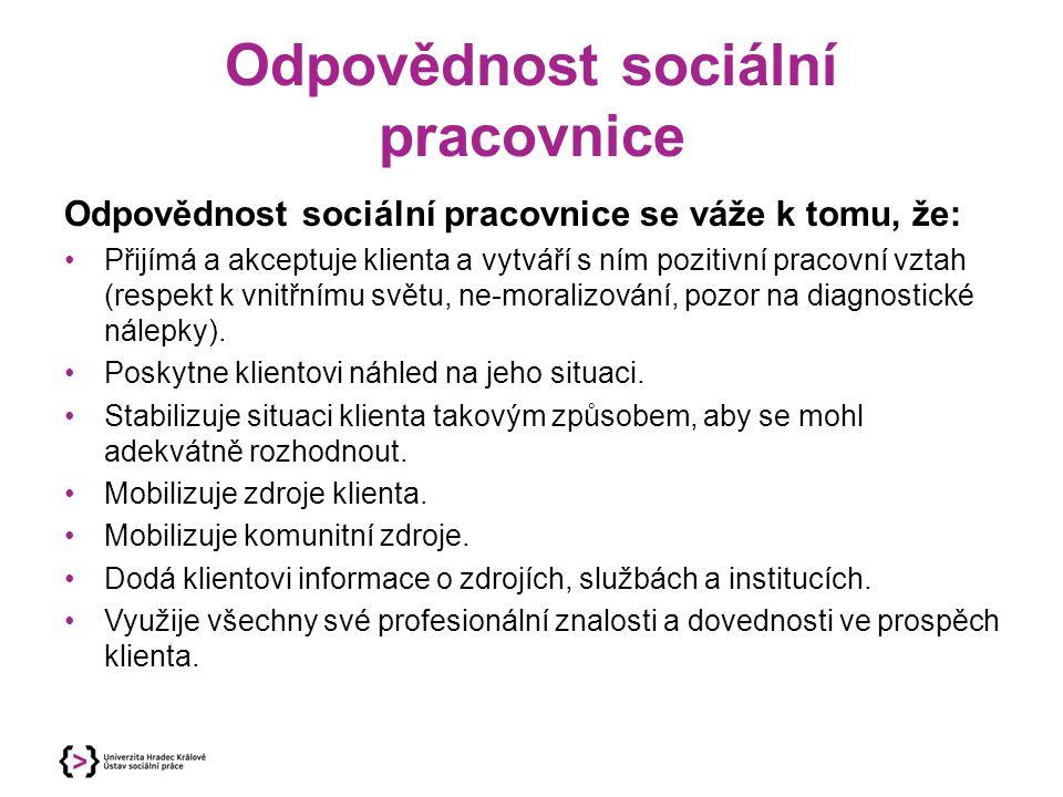 Odpovědnost sociální pracovnice