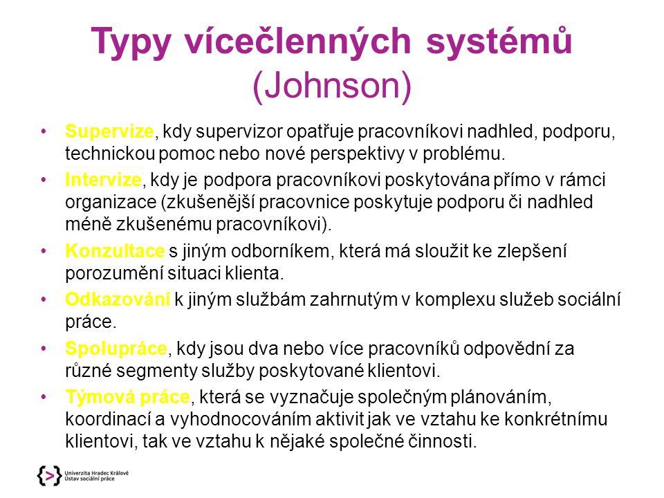 Typy vícečlenných systémů (Johnson)