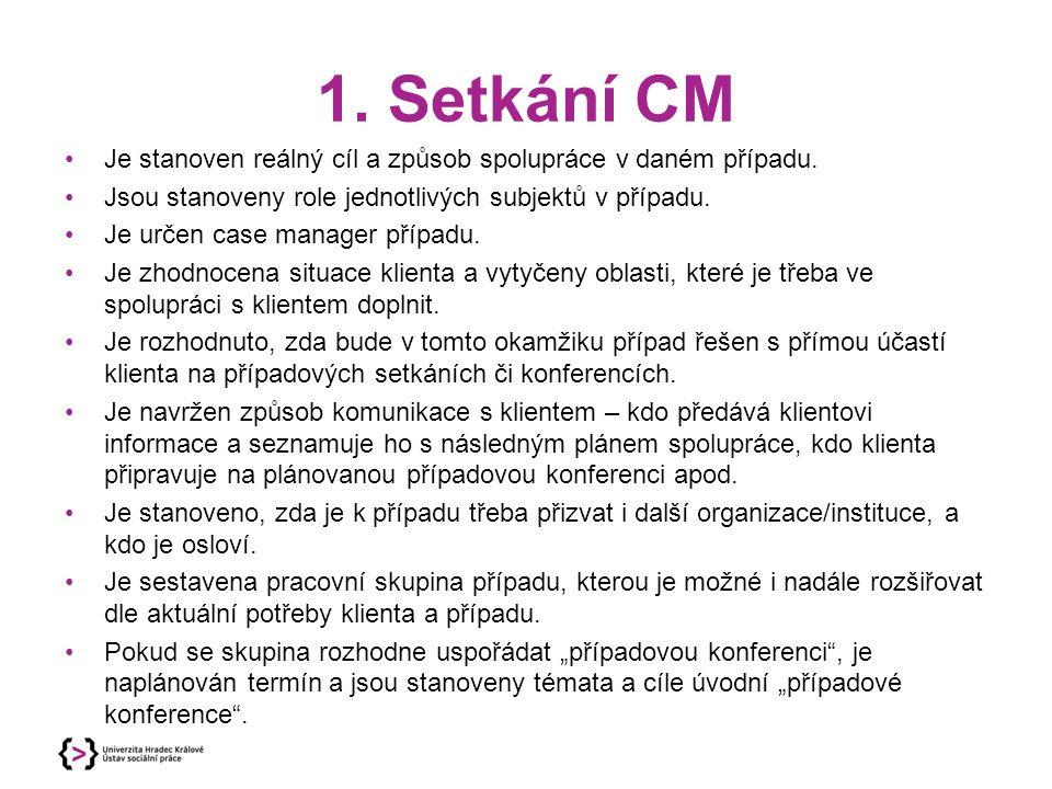1. Setkání CM Je stanoven reálný cíl a způsob spolupráce v daném případu. Jsou stanoveny role jednotlivých subjektů v případu.