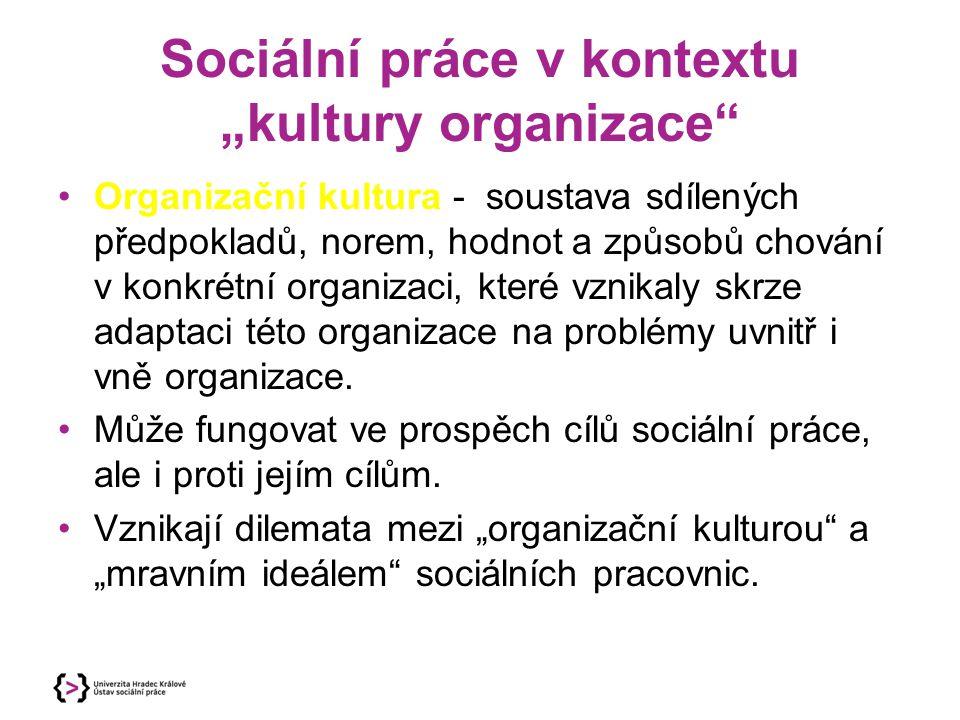"""Sociální práce v kontextu """"kultury organizace"""