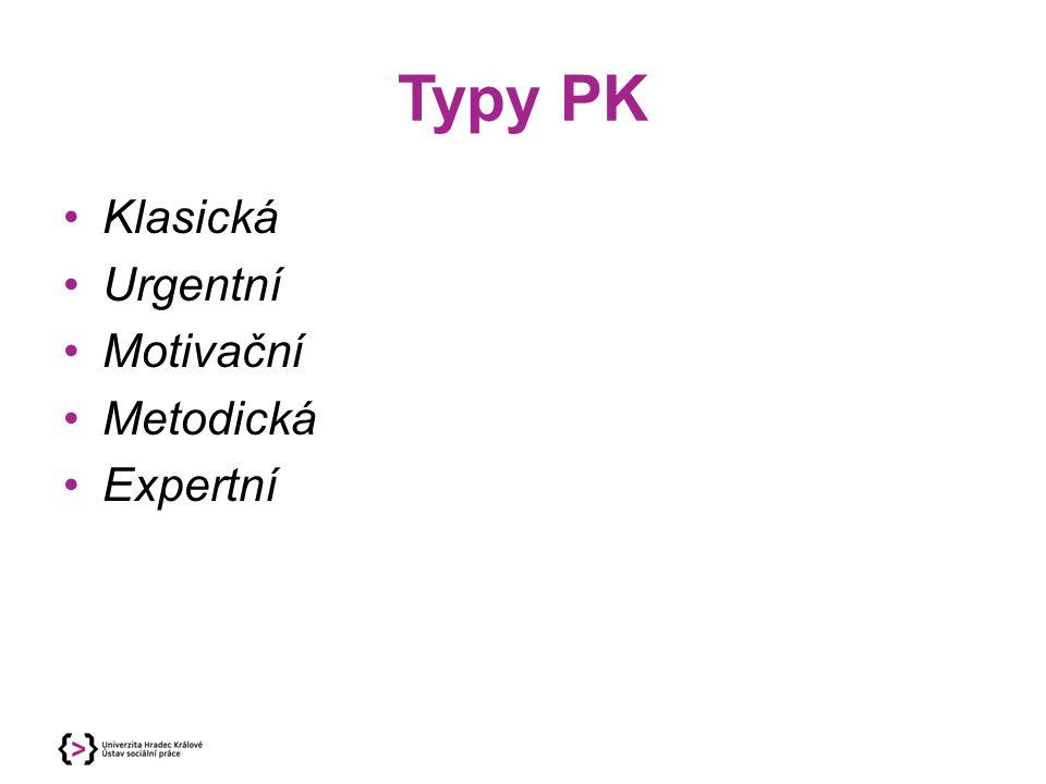 Typy PK Klasická Urgentní Motivační Metodická Expertní