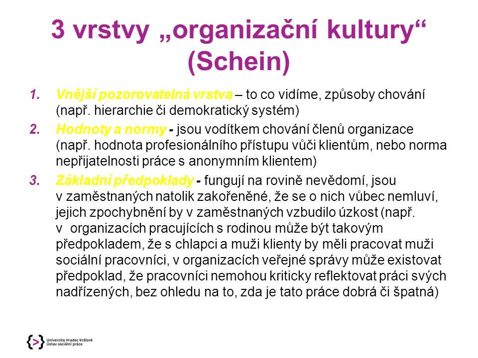 """3 vrstvy """"organizační kultury (Schein)"""