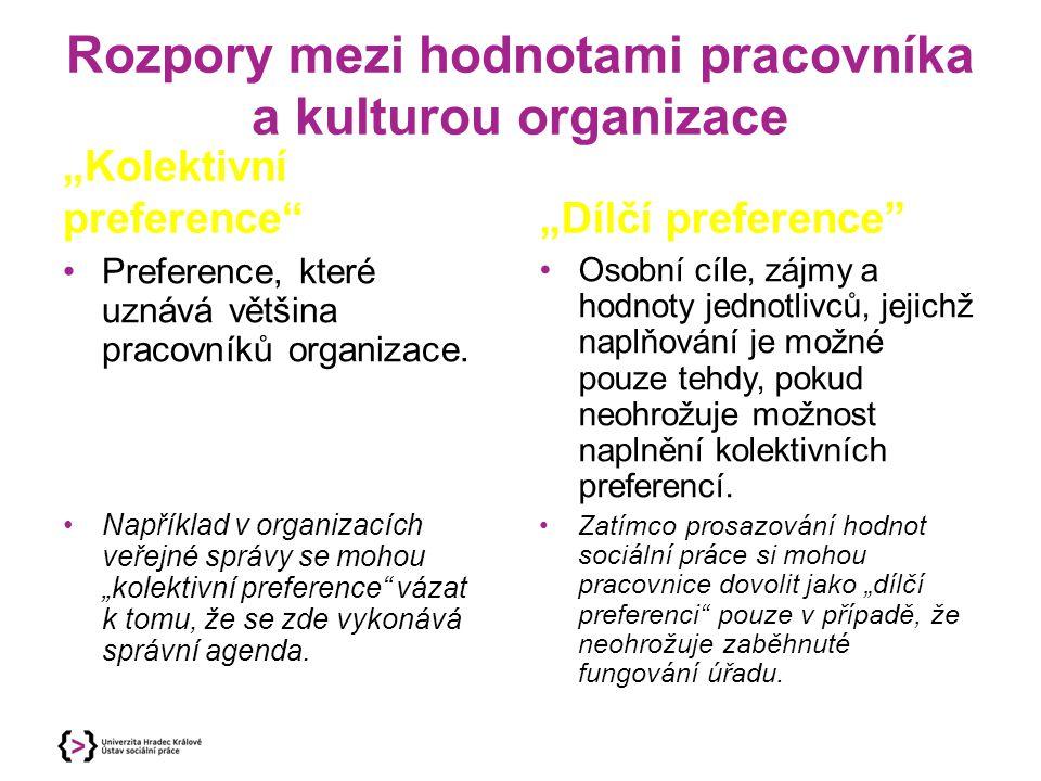 Rozpory mezi hodnotami pracovníka a kulturou organizace
