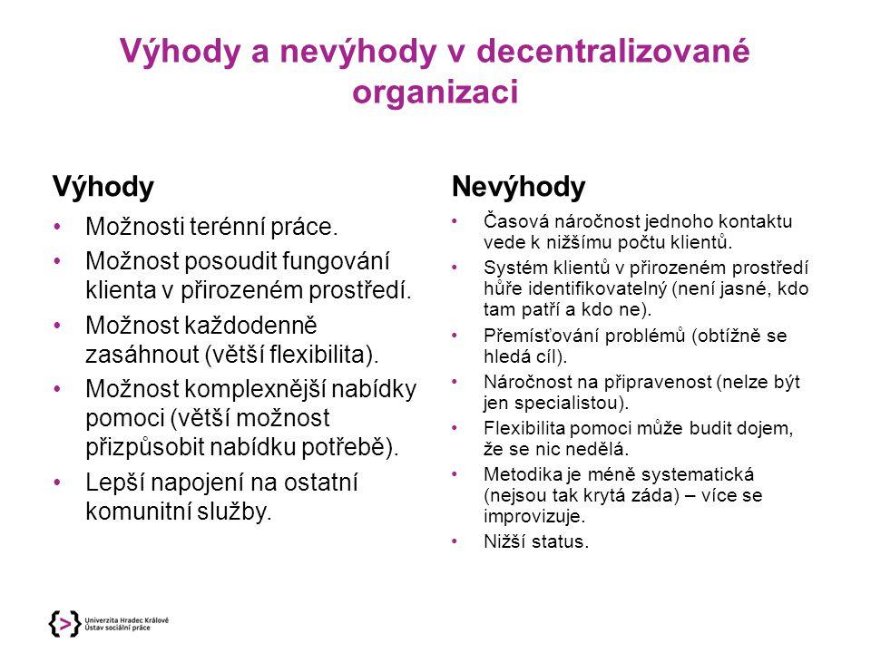 Výhody a nevýhody v decentralizované organizaci