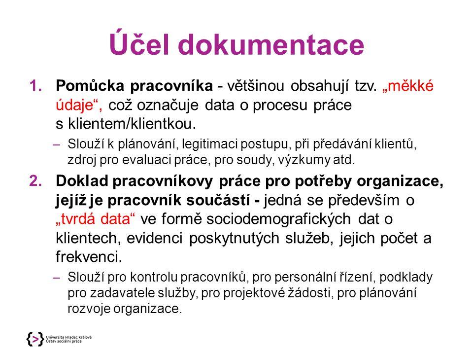 """Účel dokumentace Pomůcka pracovníka - většinou obsahují tzv. """"měkké údaje , což označuje data o procesu práce s klientem/klientkou."""
