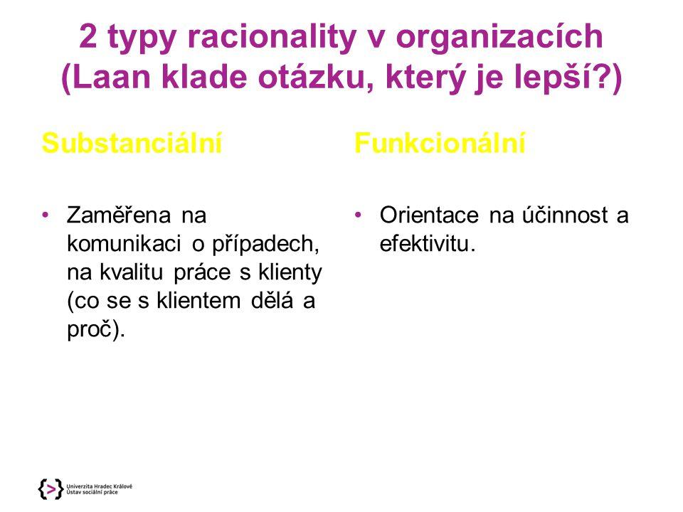 2 typy racionality v organizacích (Laan klade otázku, který je lepší )