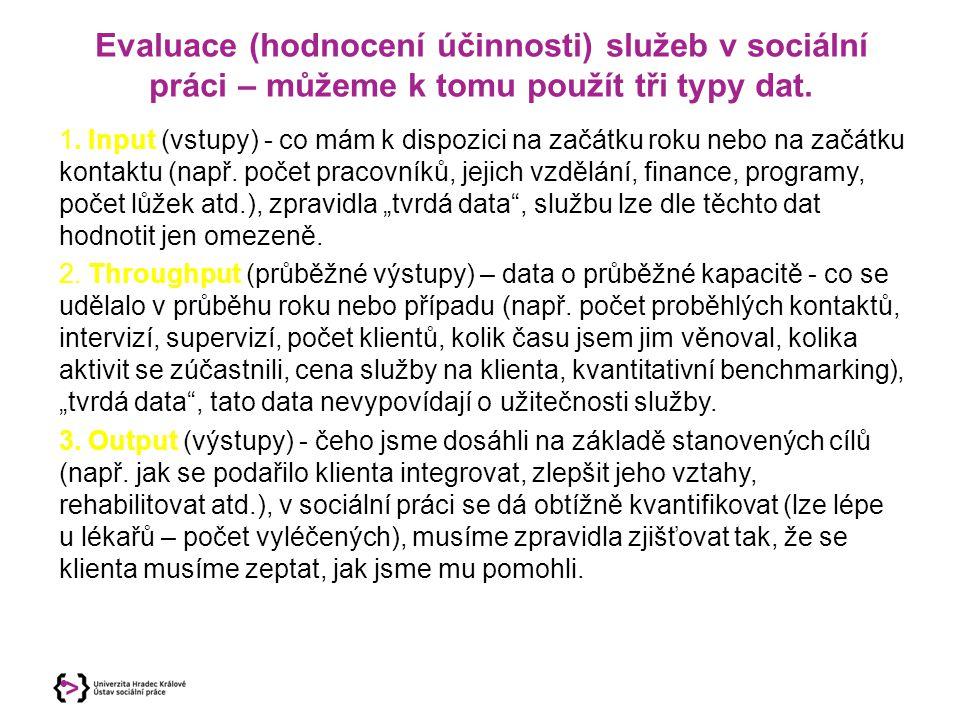 Evaluace (hodnocení účinnosti) služeb v sociální práci – můžeme k tomu použít tři typy dat.