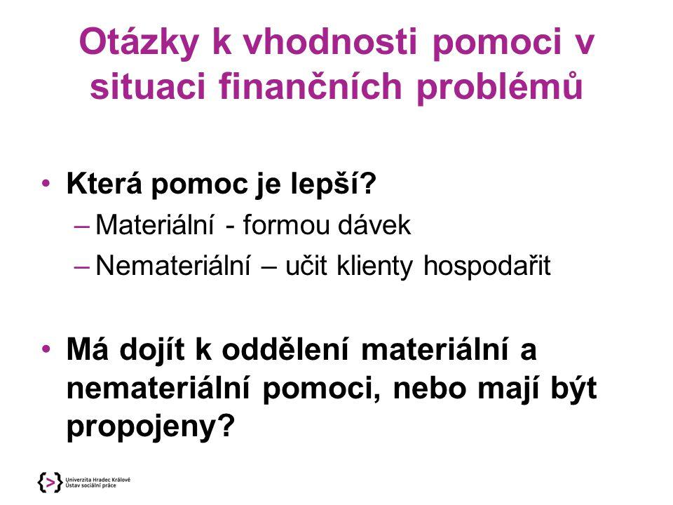 Otázky k vhodnosti pomoci v situaci finančních problémů