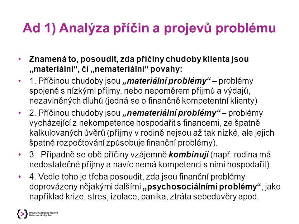 Ad 1) Analýza příčin a projevů problému