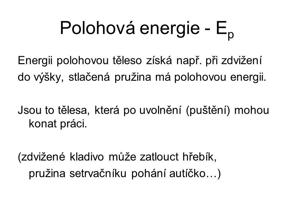 Polohová energie - Ep Energii polohovou těleso získá např. při zdvižení. do výšky, stlačená pružina má polohovou energii.