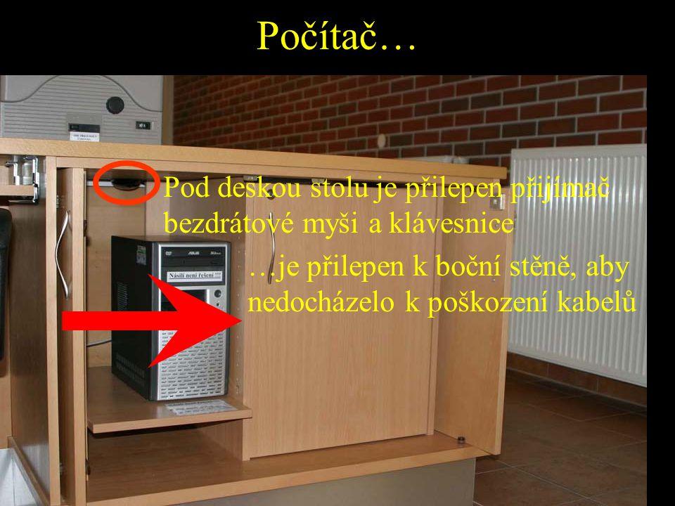 Počítač… Pod deskou stolu je přilepen přijímač bezdrátové myši a klávesnice.