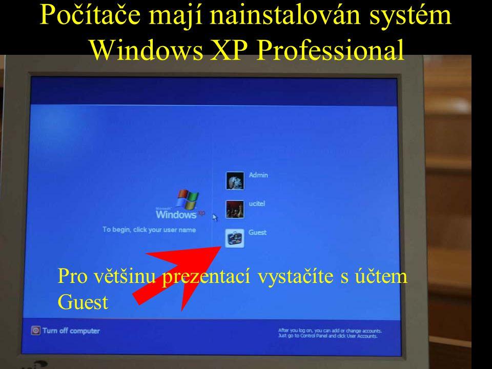 Počítače mají nainstalován systém Windows XP Professional