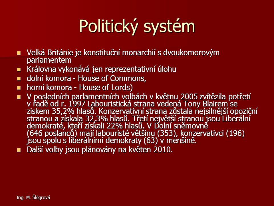 Politický systém Velká Británie je konstituční monarchií s dvoukomorovým parlamentem. Královna vykonává jen reprezentativní úlohu.
