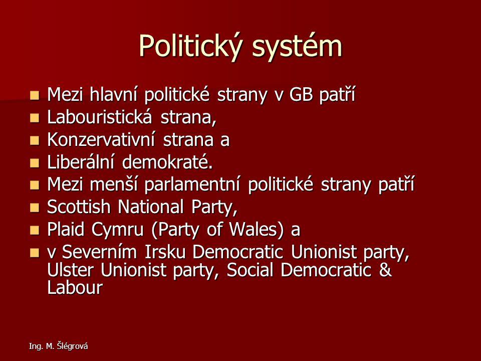 Politický systém Mezi hlavní politické strany v GB patří