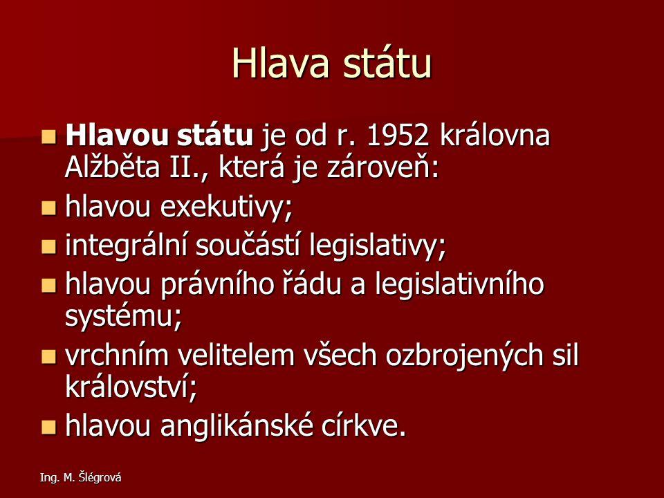 Hlava státu Hlavou státu je od r. 1952 královna Alžběta II., která je zároveň: hlavou exekutivy; integrální součástí legislativy;
