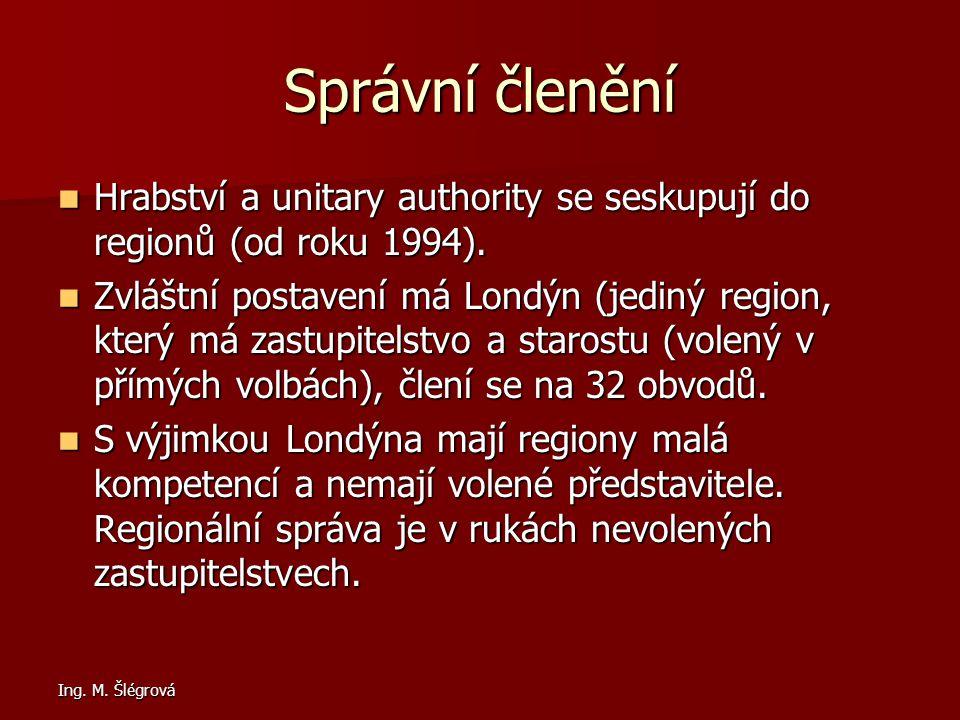 Správní členění Hrabství a unitary authority se seskupují do regionů (od roku 1994).