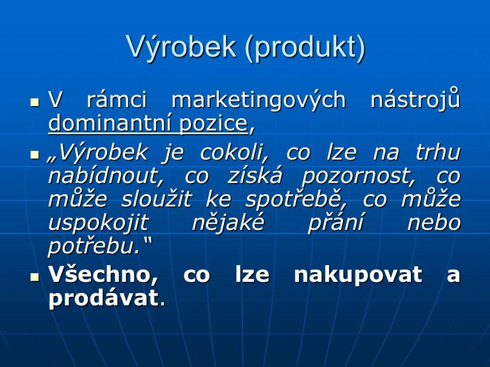 Výrobek (produkt) V rámci marketingových nástrojů dominantní pozice,