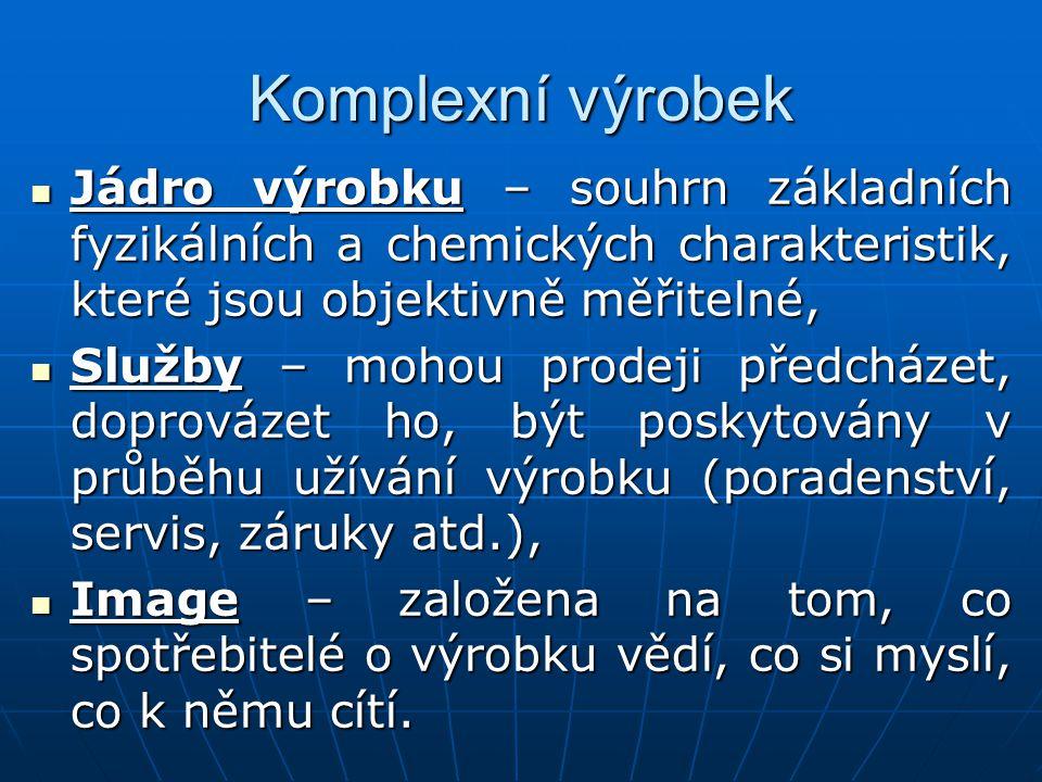 Komplexní výrobek Jádro výrobku – souhrn základních fyzikálních a chemických charakteristik, které jsou objektivně měřitelné,