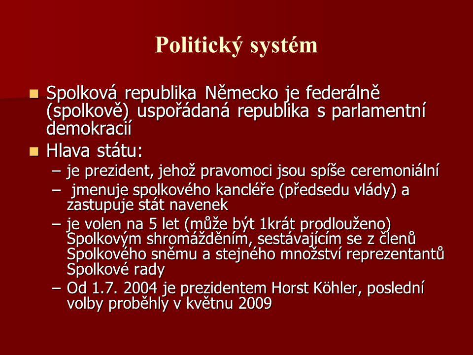 Politický systém Spolková republika Německo je federálně (spolkově) uspořádaná republika s parlamentní demokracií.