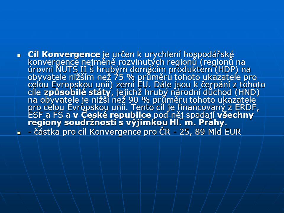 Cíl Konvergence je určen k urychlení hospodářské konvergence nejméně rozvinutých regionů (regionů na úrovni NUTS II s hrubým domácím produktem (HDP) na obyvatele nižším než 75 % průměru tohoto ukazatele pro celou Evropskou unii) zemí EU. Dále jsou k čerpání z tohoto cíle způsobilé státy, jejichž hrubý národní důchod (HND) na obyvatele je nižší než 90 % průměru tohoto ukazatele pro celou Evropskou unii. Tento cíl je financovaný z ERDF, ESF a FS a v České republice pod něj spadají všechny regiony soudržnosti s výjimkou Hl. m. Prahy.