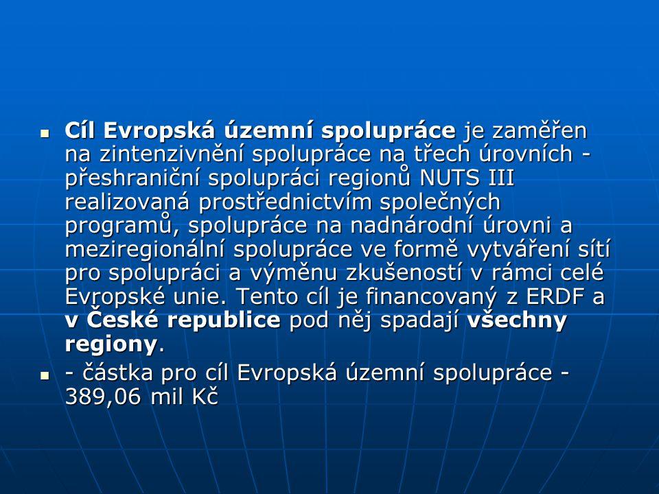 Cíl Evropská územní spolupráce je zaměřen na zintenzivnění spolupráce na třech úrovních - přeshraniční spolupráci regionů NUTS III realizovaná prostřednictvím společných programů, spolupráce na nadnárodní úrovni a meziregionální spolupráce ve formě vytváření sítí pro spolupráci a výměnu zkušeností v rámci celé Evropské unie. Tento cíl je financovaný z ERDF a v České republice pod něj spadají všechny regiony.