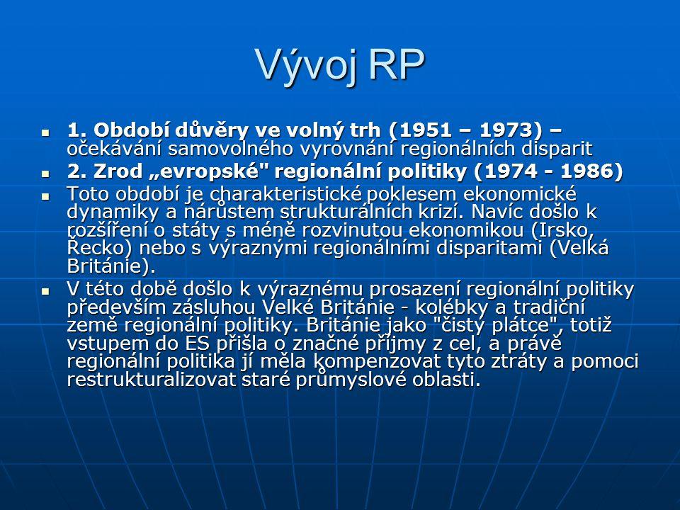 Vývoj RP 1. Období důvěry ve volný trh (1951 – 1973) – očekávání samovolného vyrovnání regionálních disparit.