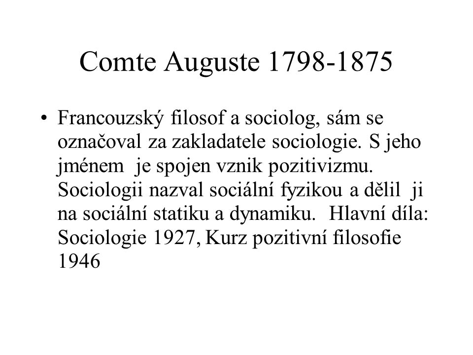 Comte Auguste 1798-1875