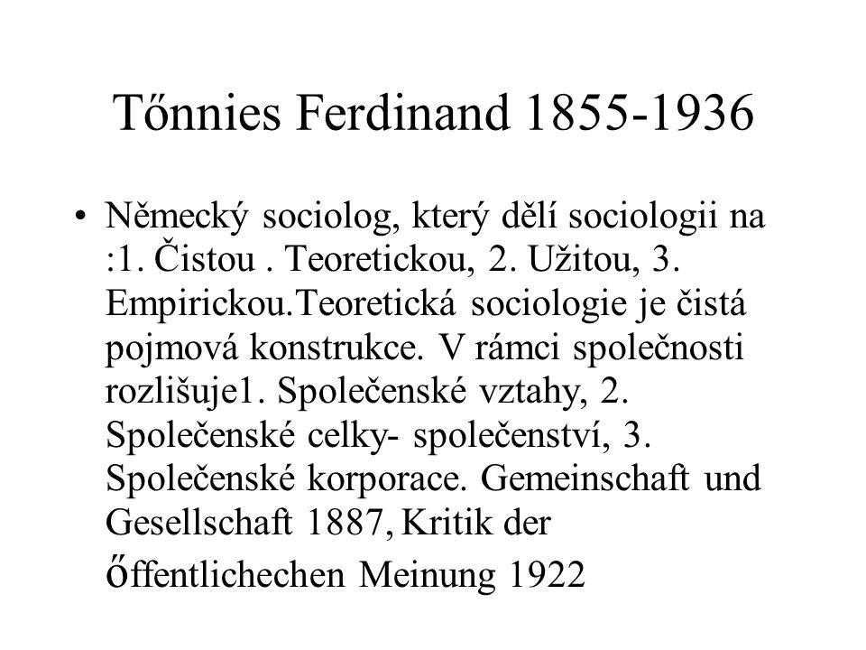 Tőnnies Ferdinand 1855-1936