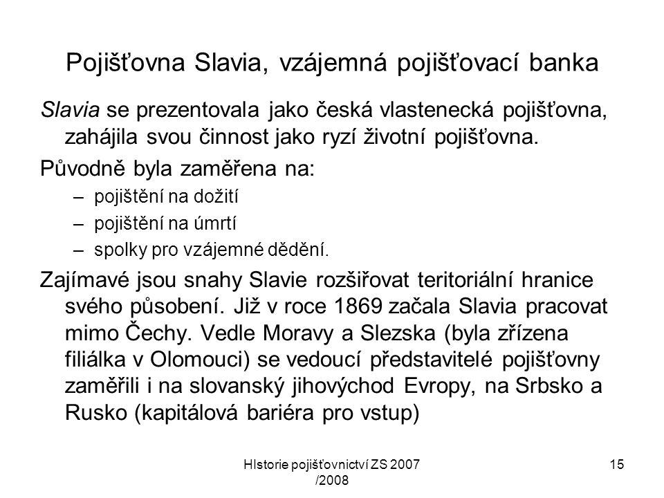 Pojišťovna Slavia, vzájemná pojišťovací banka